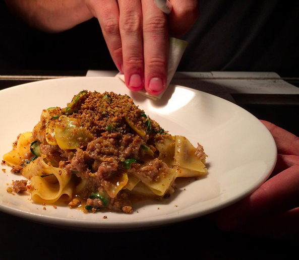 Orange tagliatelle, duck ragout, zucchini & pine nuts  | Credit: Instagram @vernickphilly