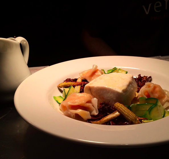 Steamed halibut, maitake mushrooms, corn, shrimp dumplings & shellfish broth  | Credit: Instagram @vernickphilly