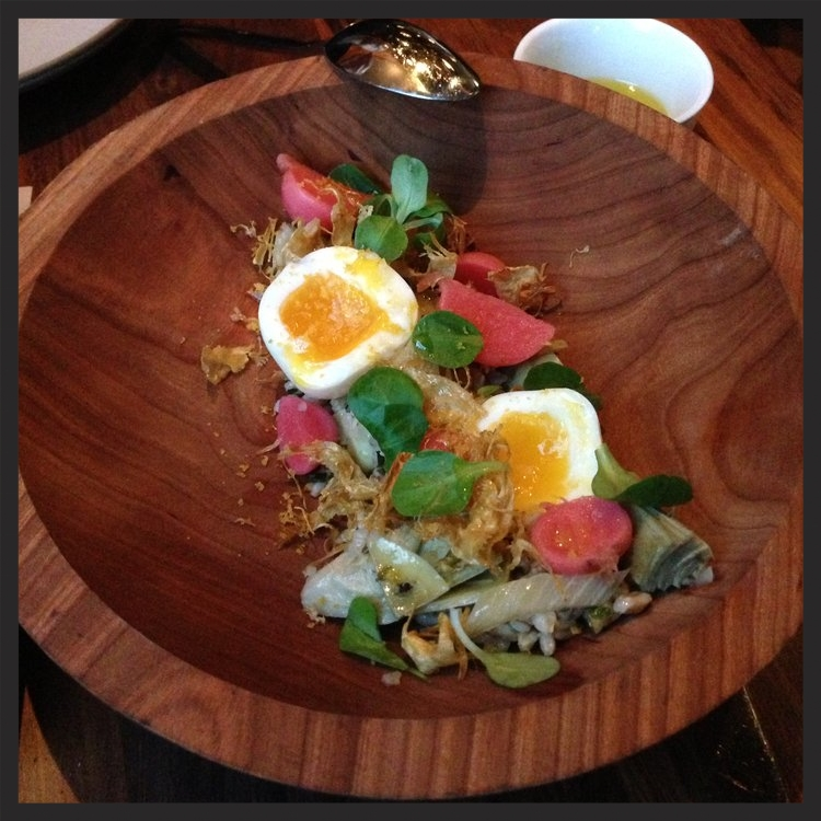 Soft cooked hen egg with artichoke, cardoon, farro, preserved lemon & bottarga at flour + water  | Yelp, Timothy C.