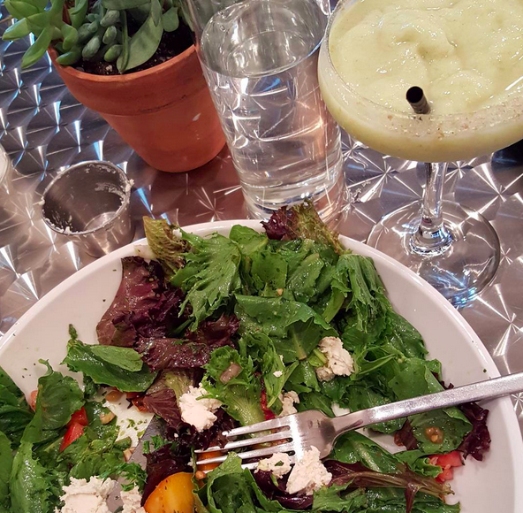 "Wild Nashville salad with housemade ""goat cheese"" and a margarita at AVO  