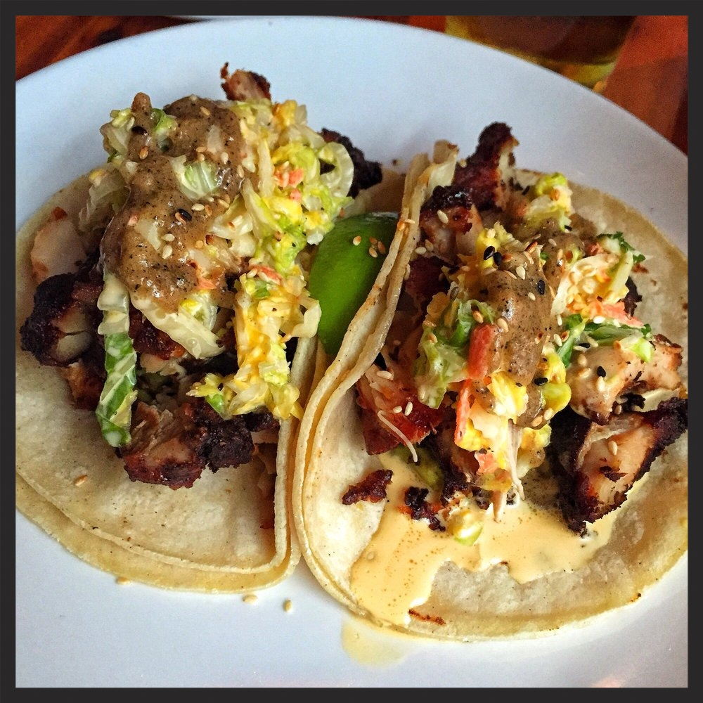 Shojiko tacos: mochiko chicken, yuzu slaw, aoli and guacamole at Shojo | Credit: Yelp, Sarah A.