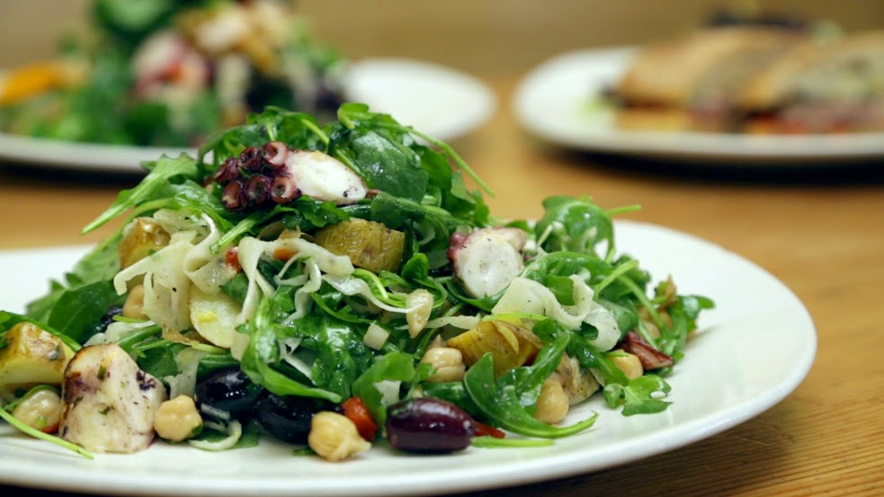 Grilled Octopus Salad at Tender Greens (Santa Monica location)  | Foodable WebTV Network