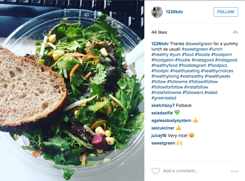 sweetgreen engages with fans on Instagram | Instagram, @1226kdv