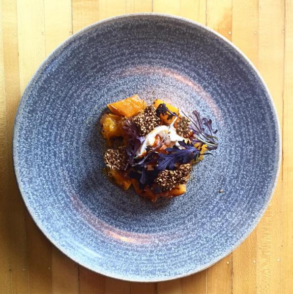 Squash & burrata, yuzo kosho, nduja, benne seed, mustard greens  | Instagram, @jacquentrenous