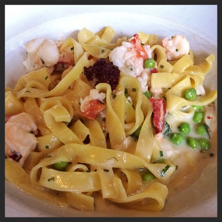 Tagliatelle with lobster, English peas, mustard seed, créme fraîche at Roast | Instagram, @bucketlisteats