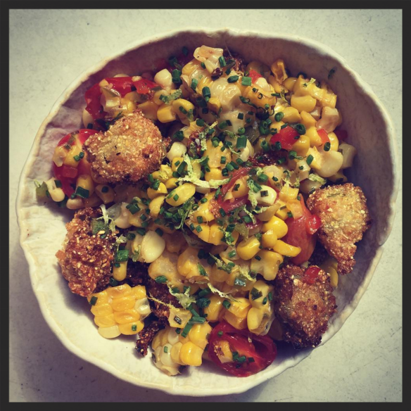 Roasted sweet corn with crispy okra, tomatoes and red peppers at ABC Kitchen  | Instagram, @abckitchen