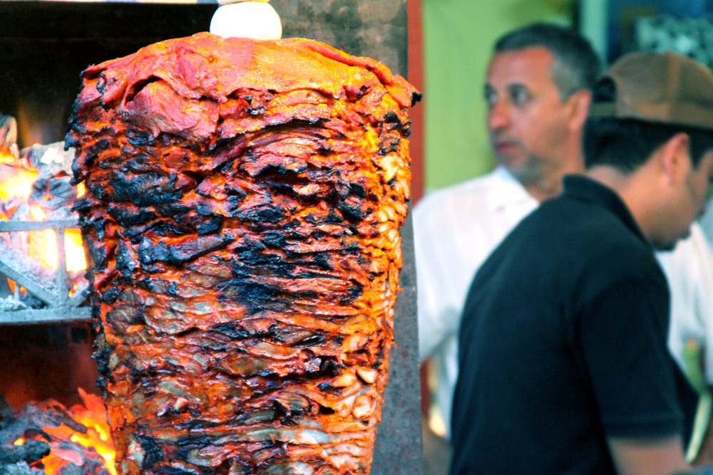 Pork adobada on a trompo | Brian Murphy for Foodable WebTV Network