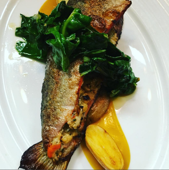 A Chef Luciano creation: Stuffed Ruby Trout, butternut squash veloute | Credit: Instagram @luciano.delsignore