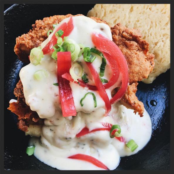 Fried chicken and buttermilk biscuit at 27 Restaurant & Bar  | Credit: Instagram @maddyslatt