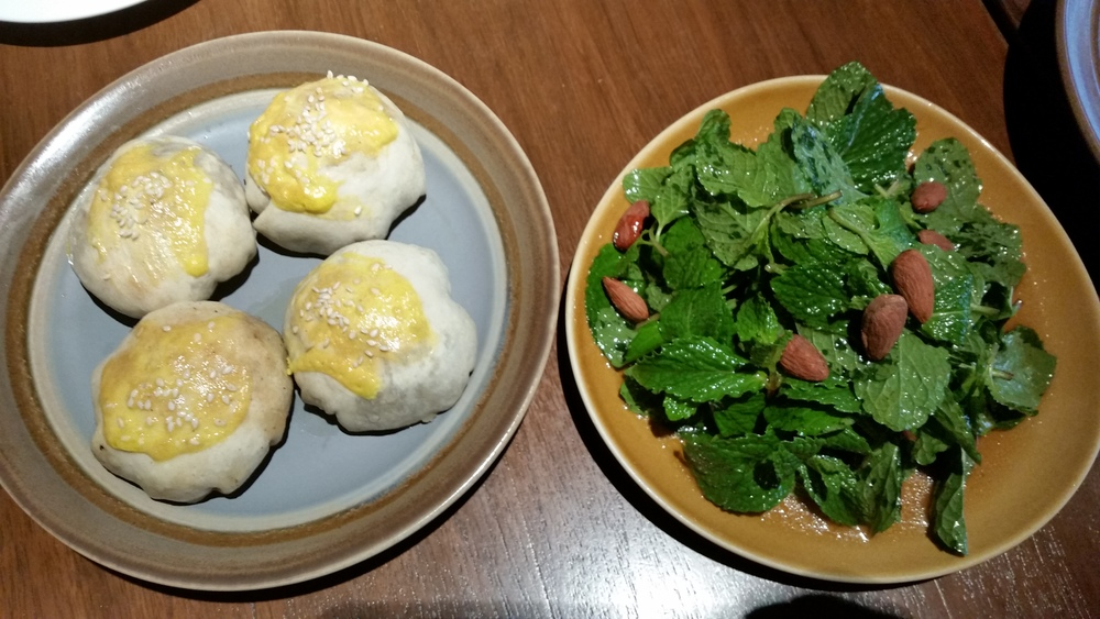 Xinjiang dumplings and mint leaf salad at Spice Bazaar | Credit: Erica Nonni for Foodable WebTV Network