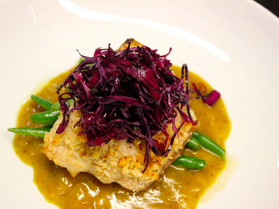 Macadamia crusted mahi, coconut curry sauce, red cabbage ginger slaw, flashed haricot verts at Canyon Restaurant  |  Credit: Instagram @canyonsouthwest