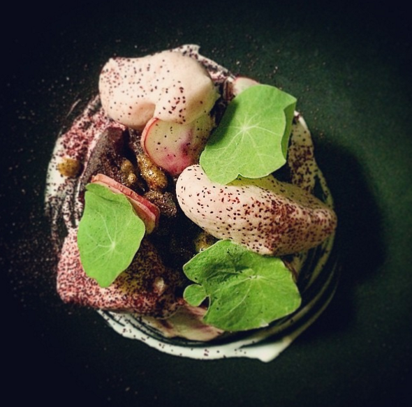 Salt roasted beets, pomegranate, black walnut and hibiscus at Laurel | Instagram @laurelepx