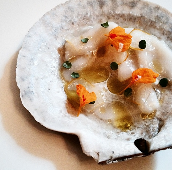 Live diver scallop with candied buddha's hand, yuzu & thyme at Laurel | Instagram @laurelepx