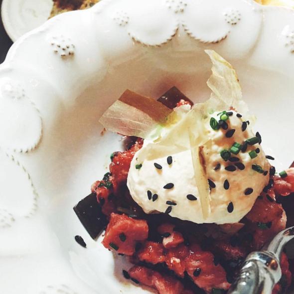 New York steak tartare with miso cream and black sesame at Faith & Flower | Instagram @faithandflower
