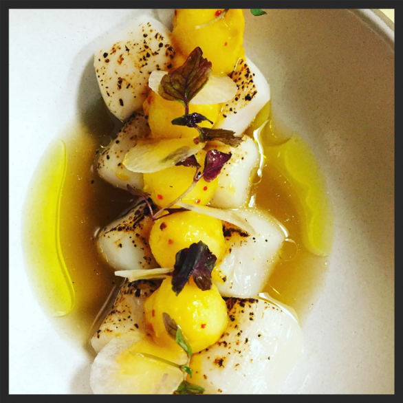 Torched bay scallops crudo: honeycrisp apple, kimchi, smoked matsutake at Spoke Wine Bar | Instagram @spokewinebar