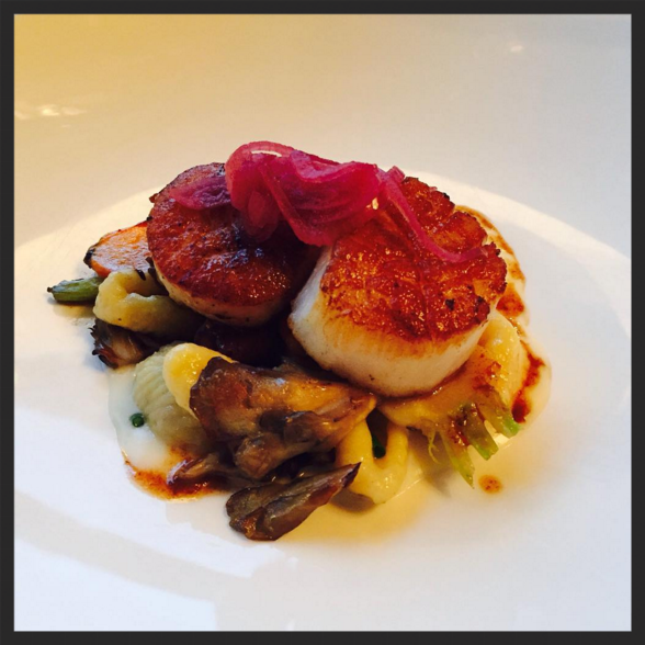 Seared scallops with oxtail bourguignon, root vegetables, potato gnocchi, wild mushrooms, cheese fondue, and of course, seared scallops | Instagram