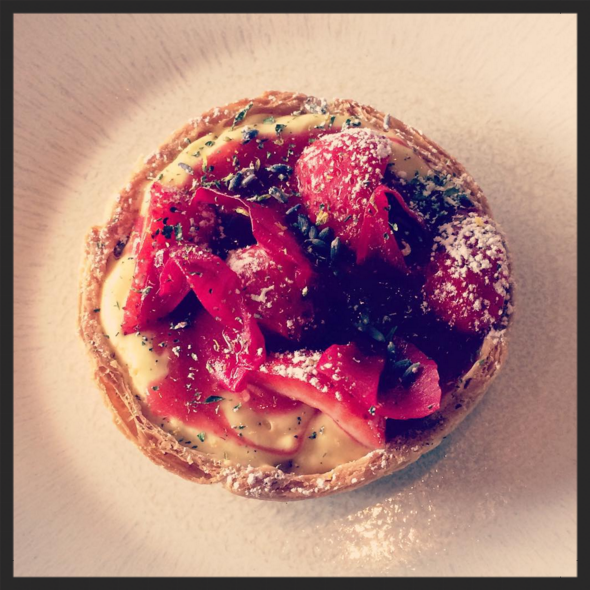 Strawberry, custard, lavender and rose petal tart at Dabbous  |  Instagram