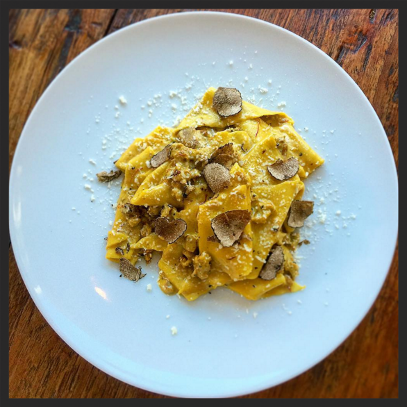 Taccozzelle, house-made sausage, porcini, Navelli saffron, and black truffle at Le Virtu | Instagram @joe_cicala