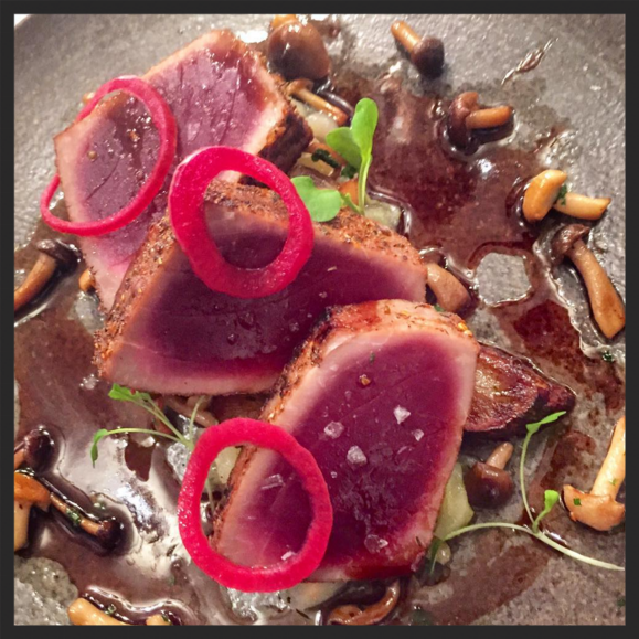 Yellowfin tuna, savoy cabbage, salsify, hon-shimeji mushrooms, cabernet at Restaurant Marc Forgione  | Instagram @marcforgione