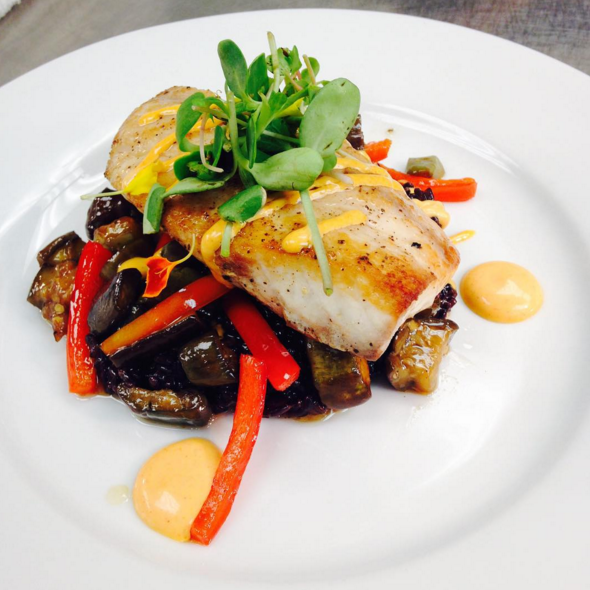 LA black drum, sorghum and vinegar sautéed eggplant & red pepper, Carolina black rice with chili aioli | Instagram @angeline_nola