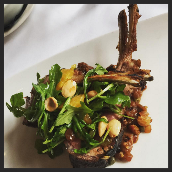 Rack of Lamb caponata, orange, olive almond at Roast  | Instagram @chef_char