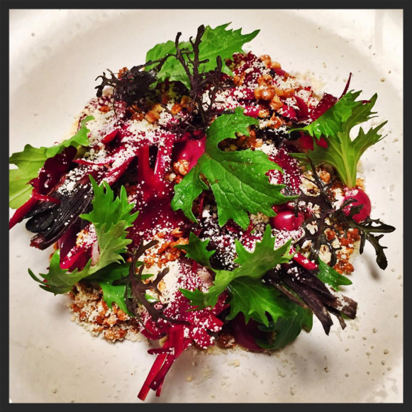 Roasted beets with goat cheese, puffed grains, honey, mizuna and herb dressing at The Dabney  | Instagram @thedabneydc