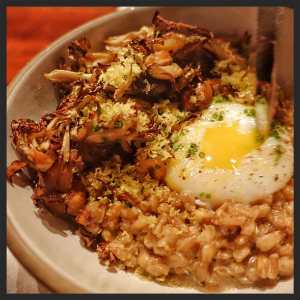 Farro and chicken of woods mushroom at Spoke Wine Bar  | Instagram @tatsuikeda