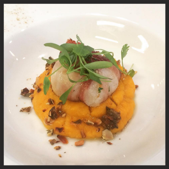 Dive scallop with pancetta and pumpkin puree at Barrafina | Credit: Instagram, @barrafinaadelaidestreet