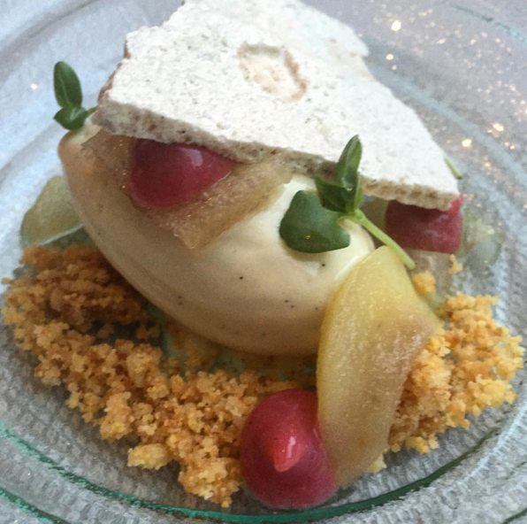 Pear, cinnamon, currant, and basil at Spiaggia  | Instagram @spiaggiachicago