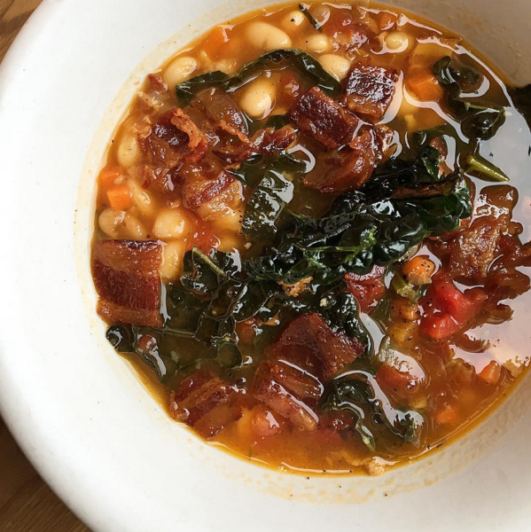 White bean and bacon soup   |  Instagram @beckettstable