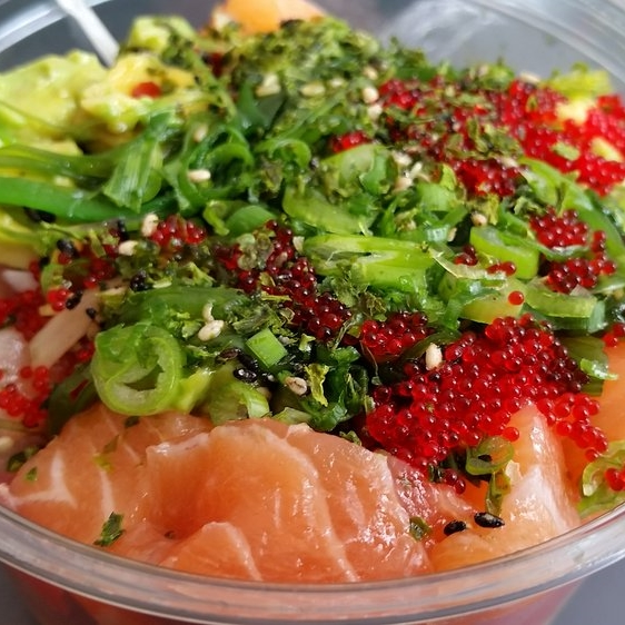 Tuna, salmon, albacore, spicy shoyu, green onions, seaweed, avocados, and tobiko  | Mainland Poke Shop | Yelp, Kevin P.