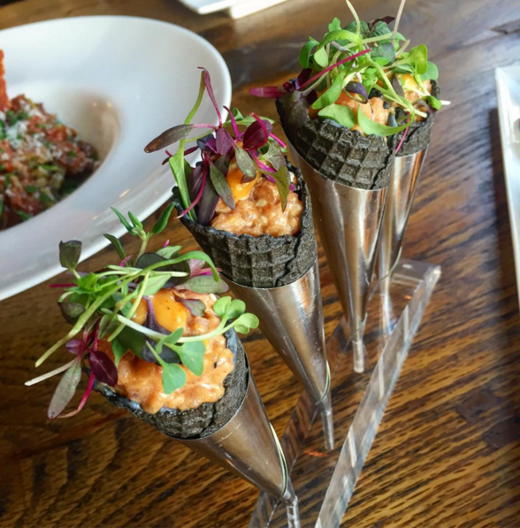 Spicy Tuna Cones with Korean Chili Aioli, Sushi Soy, Sweet Soy Glaze and Squid Ink Cones  | Instagram @artisanhousela