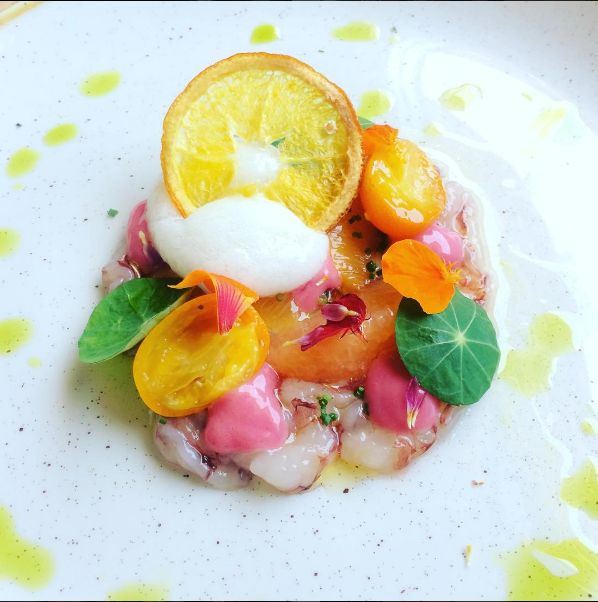 Ridgeback prawns, citrus, and nasturtium  |  Instagram @kalirestaurant