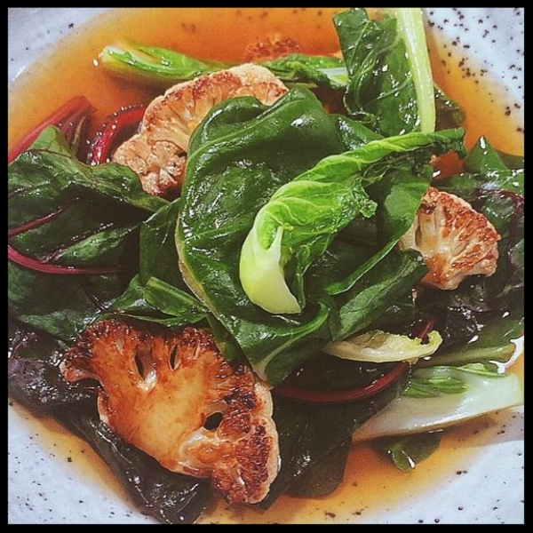 Organic Cauliflower and Rainbow Chard in Citrus and Onion Broth at Antidote Wine Bar | @antidotewinebar Instagram