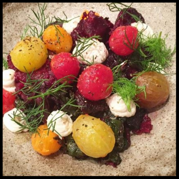 Baby Beets and Heirloom Cherry Tomatoes at Bateau | @bateauseattle Instagram