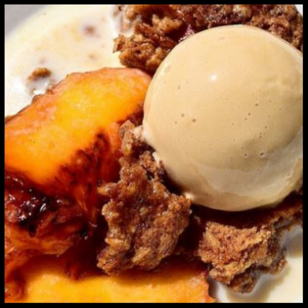 Peaches and oatmeal gelato at Spinasse | @spinasse Twitter