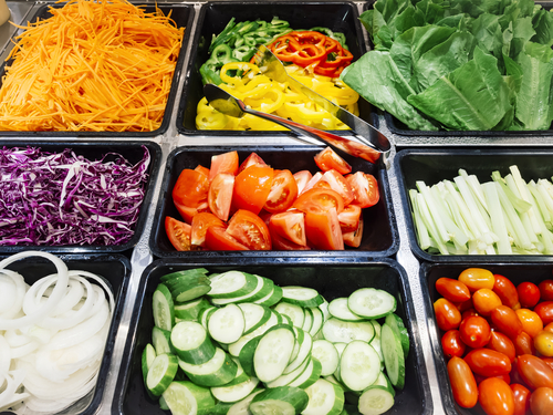 Organic salad bar with fresh vegetables