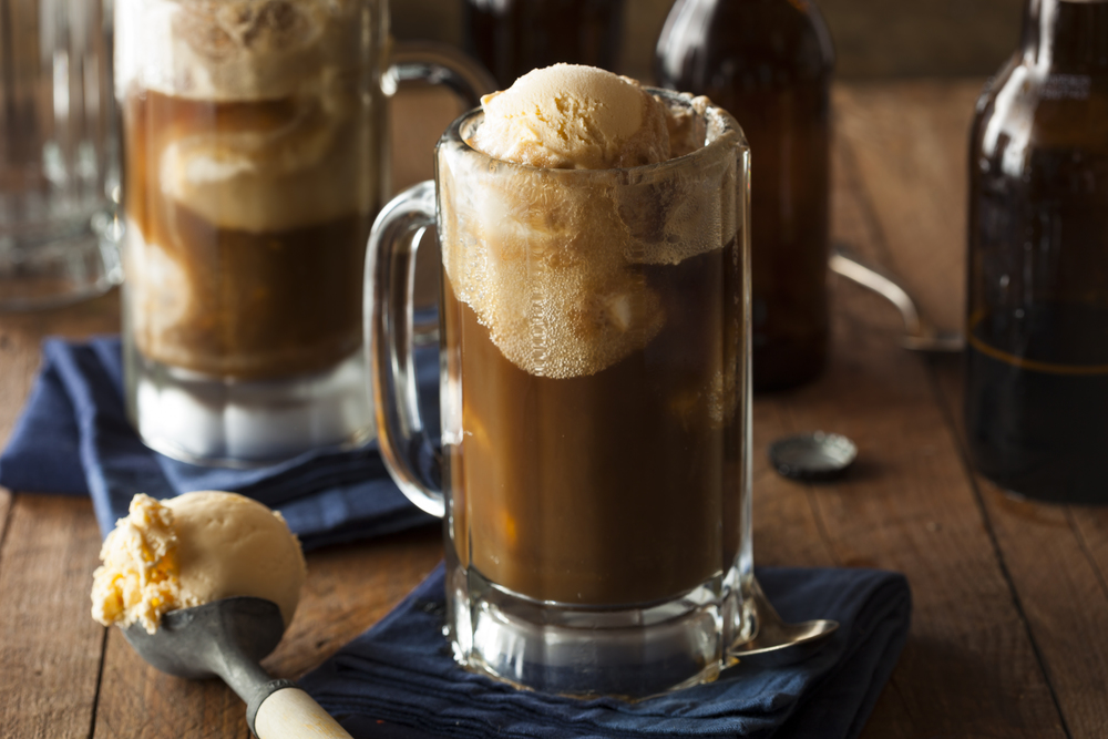 Root beer float with vanilla ice cream