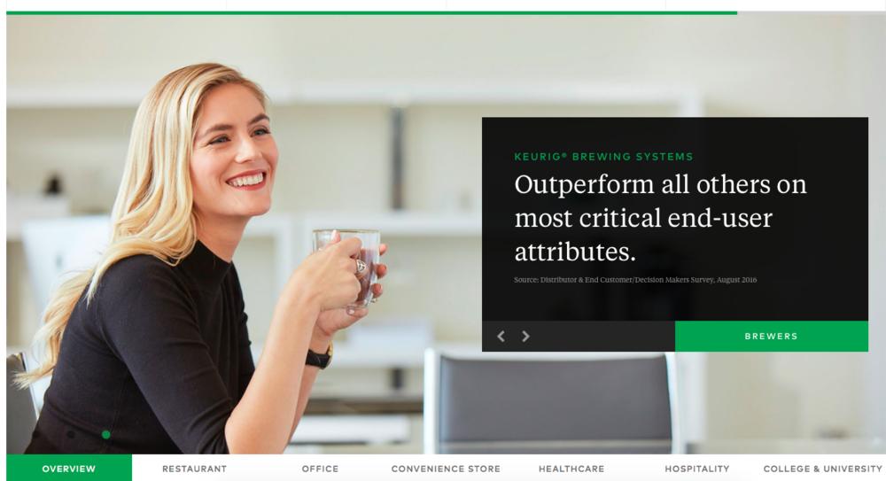 Screenshot of Keurig's new commercial website |  Keurig Green Mountain
