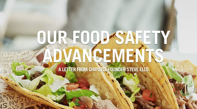 Screenshot of Chipotle's Open Letter About New Food Safety Advancements | Chipotle.com