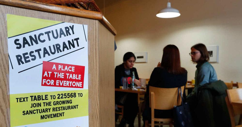 Sanctuary Restaurant Signage |  Credit: Paul Sancya/AP Photo