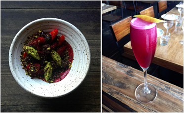 Beets and Berries (L) inspired the Beet Royale (R) at Rustic Canyon