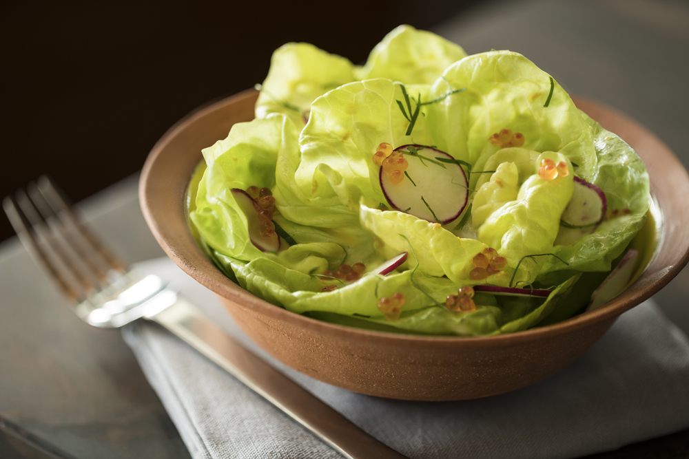 Butter Lettuce Salad with Radishes and Trout Roe