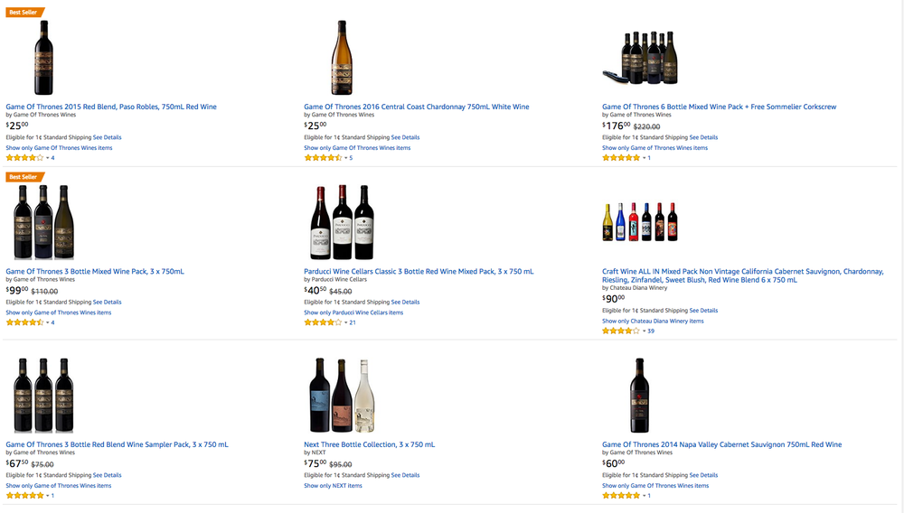 Screenshot of the Amazon Wine marketplace