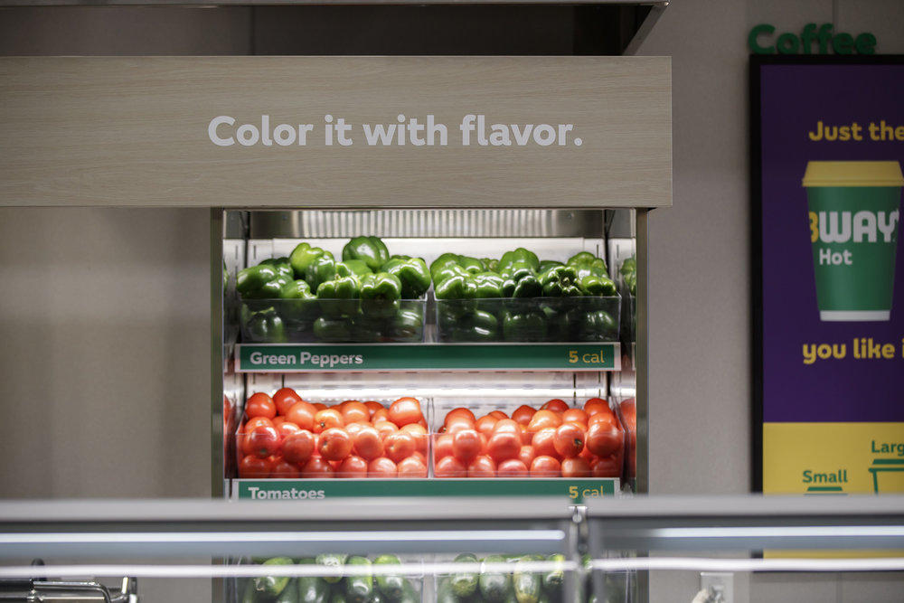 Veggie display at new Subway pilot store | Subway