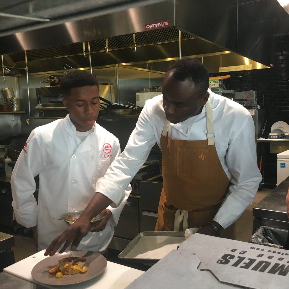 Chef Sylva Senat and Dominique Akers