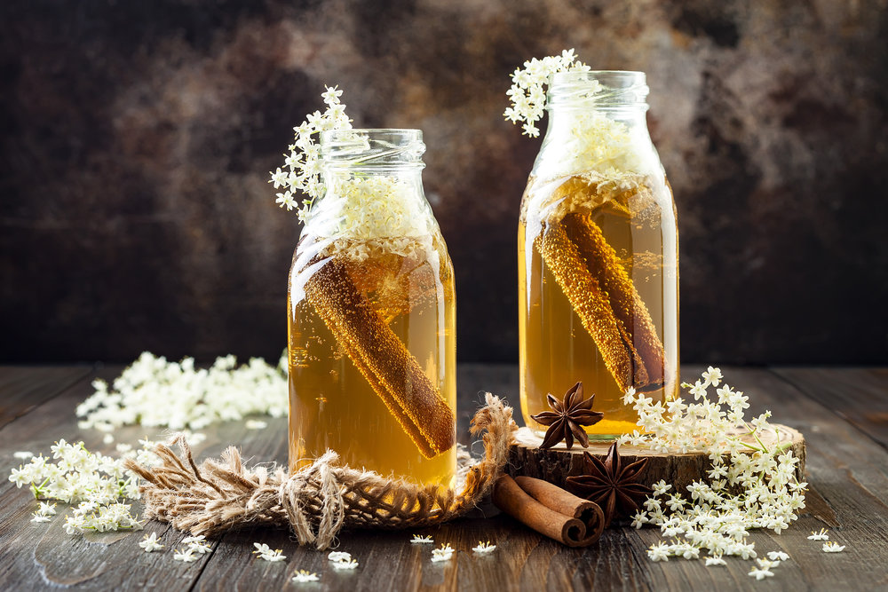 elderflower infused kombucha