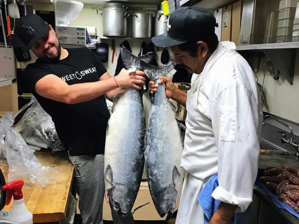 Chefs Dustin Trani and Esteban Munoz from J. Trani's Ristorante