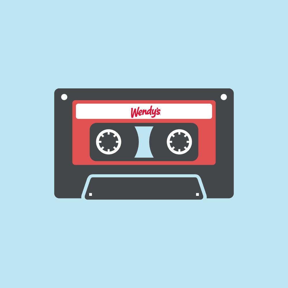 Wendy's logo on a retro mixtape