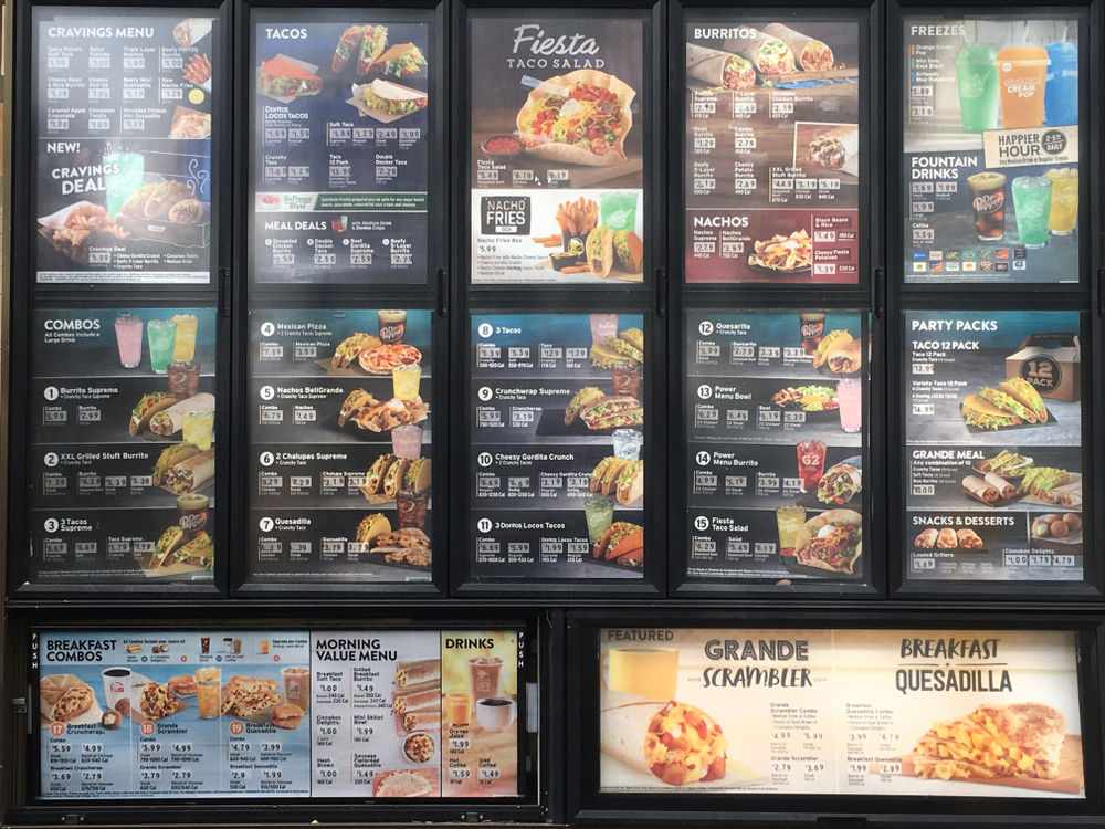 New Taco Bell menu with calorie counts